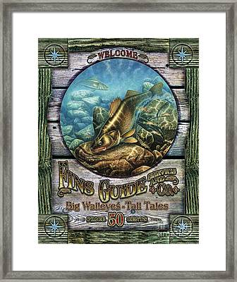 Fins Guide Service Sign Framed Print by Jon Q Wright