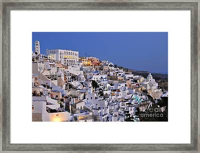Fira Town During Dusk Time Framed Print by George Atsametakis