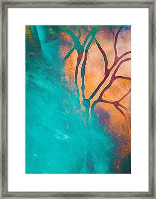 Fire And Ice Abstract Tree Art Teal Framed Print by Priya Ghose