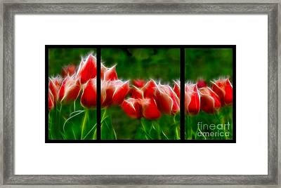 Fire And Ice Fractal Triptych Framed Print by Peter Piatt