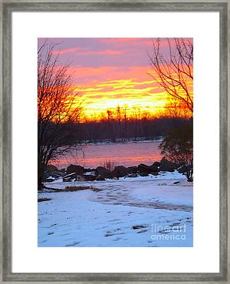 Fire And Ice Sunrise On The Delaware River Framed Print by Robyn King