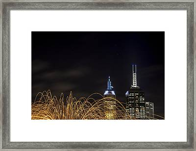 Fire And Lights Framed Print by Shari Mattox