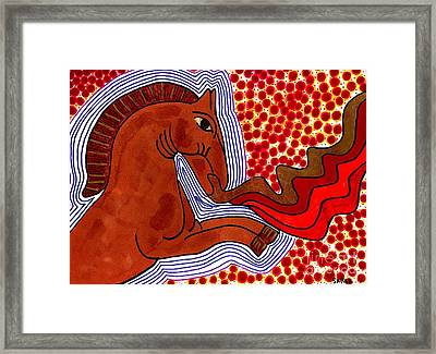 Fire Breathing Horse Framed Print by Sarah Loft