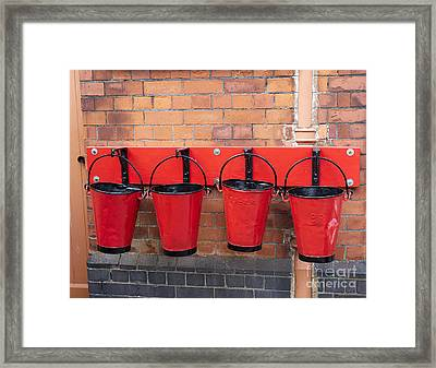 Fire Buckets At Toddington Railway Station Framed Print by Louise Heusinkveld