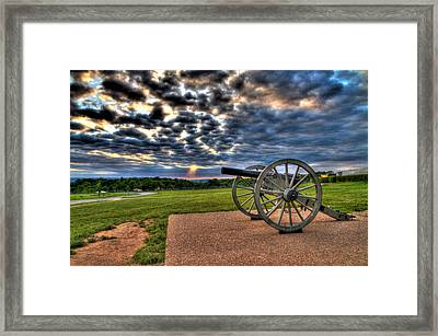 Fire Clouds Over A Gettysburg Cannon Framed Print by Andres Leon