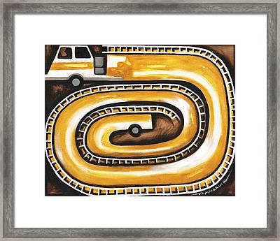 Tommervik Yellow Fire Truck Firefighter Art Print Framed Print by Tommervik