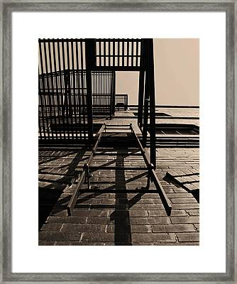 Fire Escape Sepia Framed Print by Don Spenner