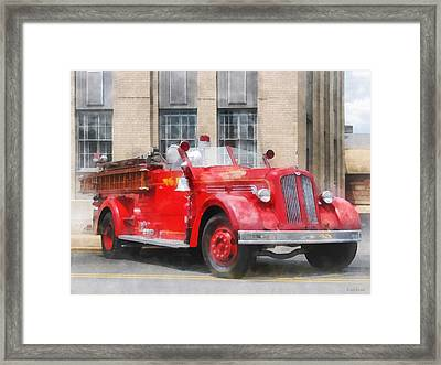 Fire Fighters - Vintage Fire Truck Framed Print by Susan Savad