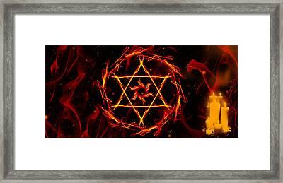 Fire Hexagram Framed Print by Persephone Artworks