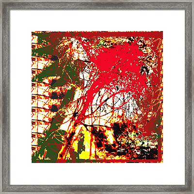 Fire In The Jungle Abstract Using Nature Photography Unique Signature Art By Navinjoshi Fire Represe Framed Print by Navin Joshi
