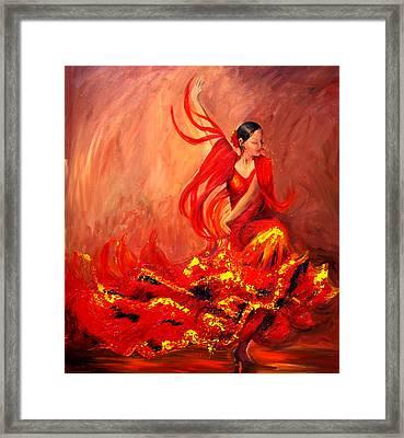 Fire Of Life Flamenco Framed Print by Sheri  Chakamian