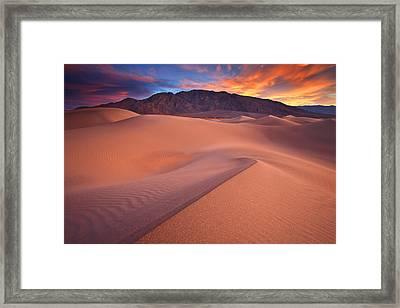 Fire On Mesquite Dunes Framed Print by Darren  White