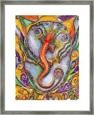 Fire Salamander - Children Of The Earth Series Framed Print by Patricia Allingham Carlson