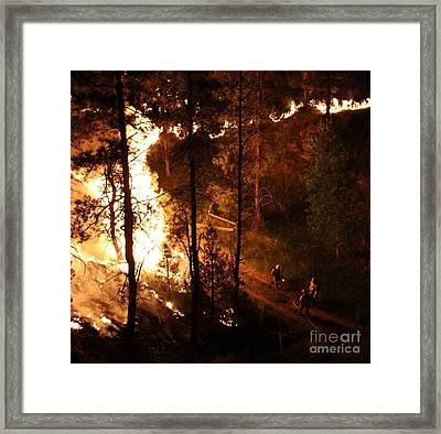 Framed Print featuring the photograph Firefighters Burn Out On The White Draw Fire by Bill Gabbert