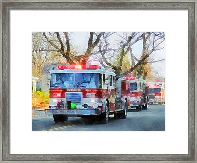 Firefighters - Line Of Fire Engines In Parade Framed Print by Susan Savad