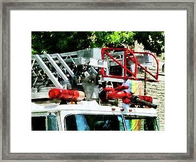 Fireman - Fire Truck Ladder Framed Print by Susan Savad