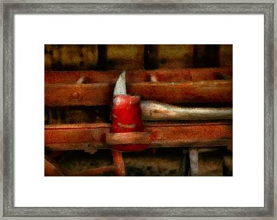 Fireman - The Fireman's Axe Framed Print by Mike Savad