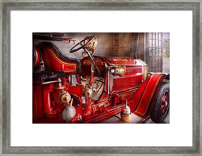 Fireman - Truck - Waiting For A Call Framed Print by Mike Savad