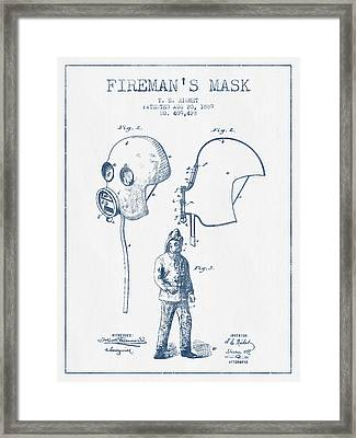 Firemans Mask Patent From 1889 - Blue Ink Framed Print by Aged Pixel