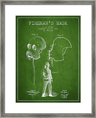Firemans Mask Patent From 1889 - Green Framed Print by Aged Pixel