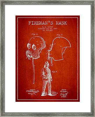 Firemans Mask Patent From 1889 - Red Framed Print by Aged Pixel