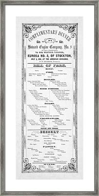 Firemen Dinner Menu - San Francisco - 1856 Framed Print by Daniel Hagerman