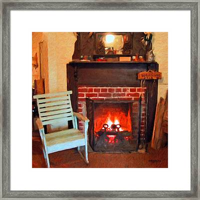 The Family Hearth - Fireplace Old Rocking Chair Framed Print by Rebecca Korpita