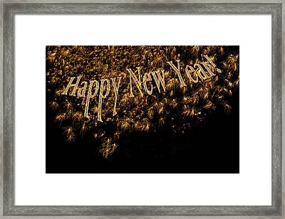 Fireworks 2013 In Elegant Gold And Black Framed Print by Marianne Campolongo