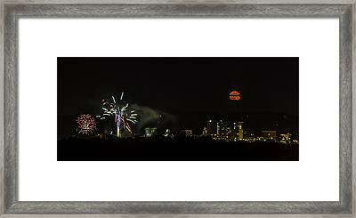 Fireworks And Moon Over Asheville Framed Print by John Haldane
