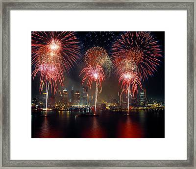 Fireworks Display At Night On Freedom Framed Print by Panoramic Images