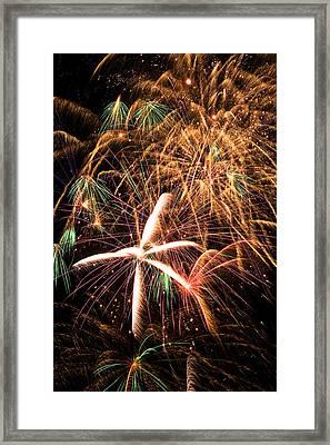 Fireworks Exploding Everywhere Framed Print by Garry Gay