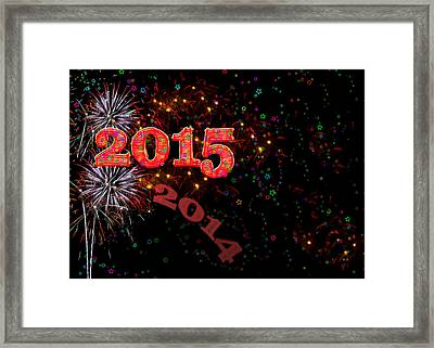 Fireworks Happy New Year 2015 Framed Print by Marianne Campolongo
