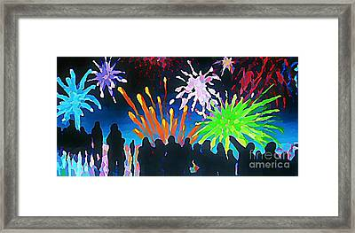 Fireworks In Halifax Framed Print by John Malone