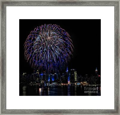 Fireworks In New York City Framed Print by Susan Candelario
