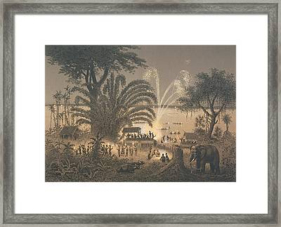 Fireworks On The River At Celebrations Framed Print by Louis Delaporte