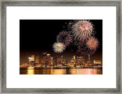 Fireworks Over Boston Harbor Framed Print by Susan Cole Kelly