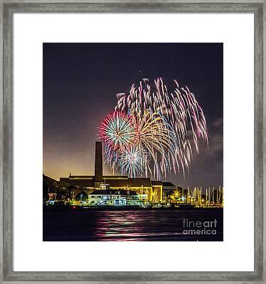 Fireworks Over Buffalo Framed Print by Linda Joyce