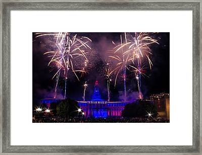 Fireworks Over Denver City And County Building Framed Print by Teri Virbickis