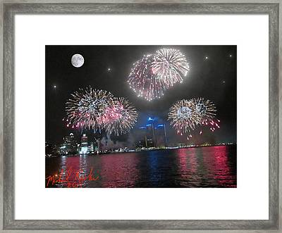 Fireworks Over Detroit Framed Print by Michael Rucker