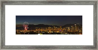 Fireworks Over English Bay During The Framed Print by Robert Postma