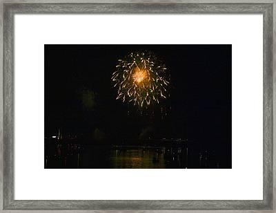 Fireworks Over Market Street Bridge Framed Print by Gene Walls
