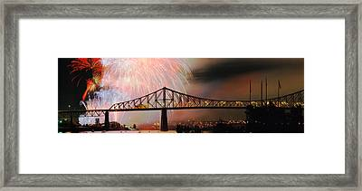 Fireworks Over The Jacques Cartier Framed Print by Panoramic Images