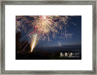 Fireworks Over The Lake Framed Print by Twenty Two North Photography