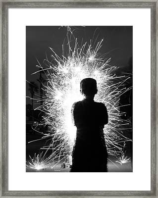 Fireworks Silhouette Framed Print by Kevin Grant