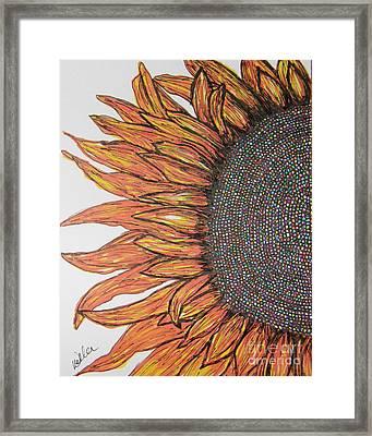 Firey Sunflower Framed Print by Marcia Weller-Wenbert
