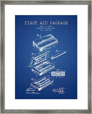 First Aid Package Patent From 1917 - Blueprint Framed Print by Aged Pixel