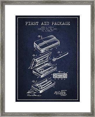 First Aid Package Patent From 1917 - Navy Blue Framed Print by Aged Pixel