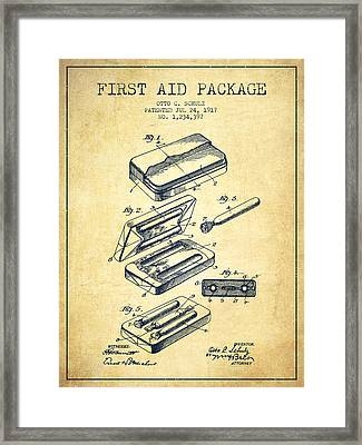 First Aid Package Patent From 1917 - Vintage Framed Print by Aged Pixel