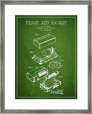 First Aid Packet Patent From 1922 - Green Framed Print by Aged Pixel