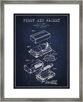 First Aid Packet Patent From 1922 - Navy Blue Framed Print by Aged Pixel